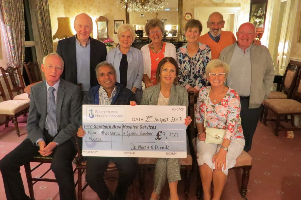 Dr. Murty and Friends present Hospice with £9,700