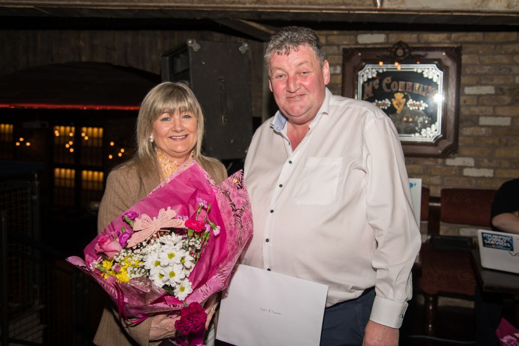 event organiser sean mcardle with his wife teresa presented gifts from basil shiels bar tassagh