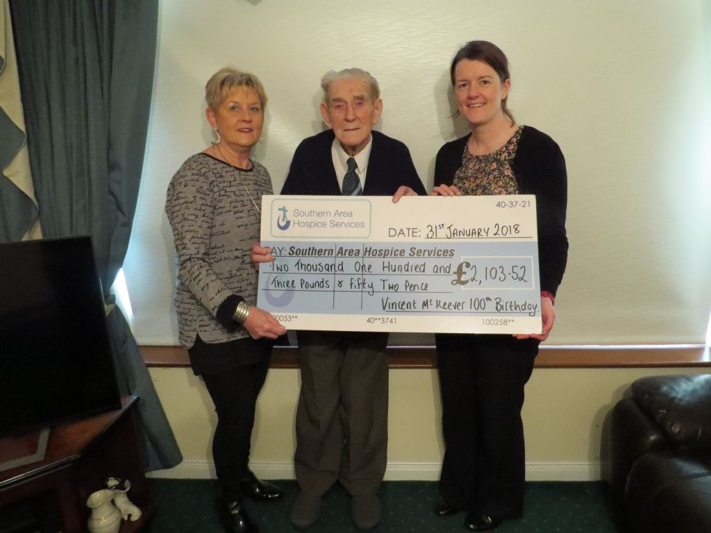 Vincent celebrates 100th Birthday and donates proceeds to Hospice